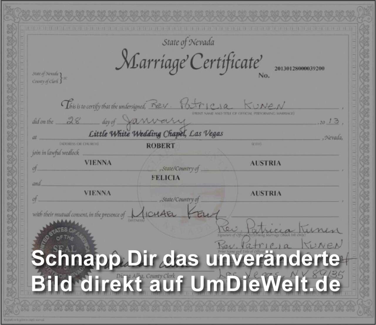 Usa reisebericht heiraten in las vegas mit der apostillie ist das marriage certificate weltweit ohne weiteres zutun lokaler behrden gltig und man somit rechtsgltig verheiratet 1betcityfo Gallery