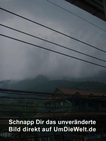 unsere herrliche Aussicht bei Regen