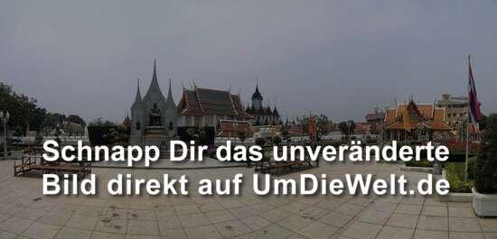 im Vordergrund: Gedenkstätte für Rama III., dahinter, mittig links der Wat Ratchanatda, mittig mit den dunklen Türmen der Loha Prasat